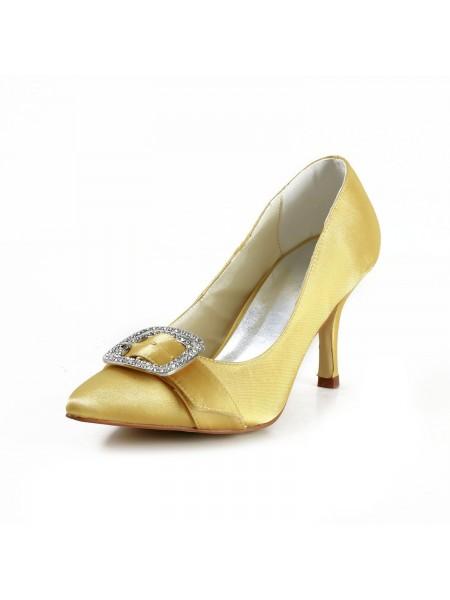 Donna Charming Raso tacco a spillo punta chiusa Con Strass Gold Scarpe da sposa
