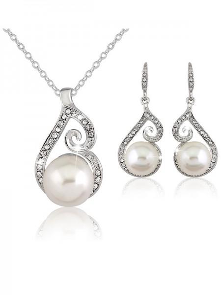 Fancy Lega With Pearl Wedding Bridal Gioielli Set