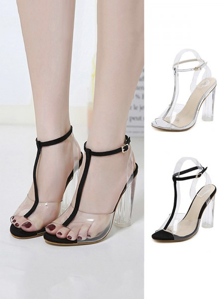 Women's Plastic Chunky Heel Peep Toe With Buckle sandali