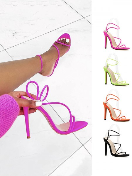 Women's Stiletto Heel Microfiber Peep Toe Sandals