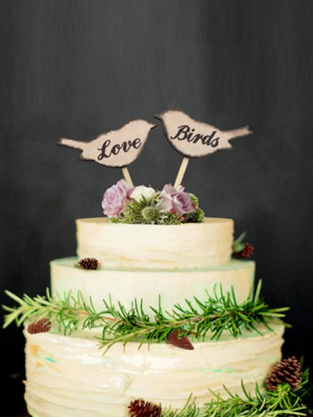 Bello Wooden Cake Topper(Love and Birds)