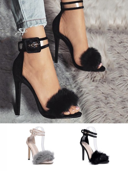 Women's Suede With Buckle Peep Toe Stiletto Heel sandali