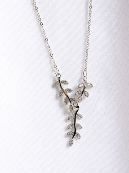 Graceful 925 Sterling Silver Women's Collane With Leaf