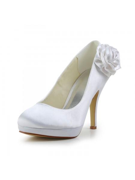 Donna Elegante Raso tacco a spillo Pumps Con Flower bianca Scarpe da sposa