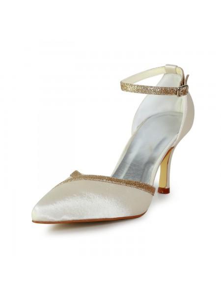 Donna Elegante Raso tacco a spillo Con Sparkling Glitter Gold Scarpe da sposa