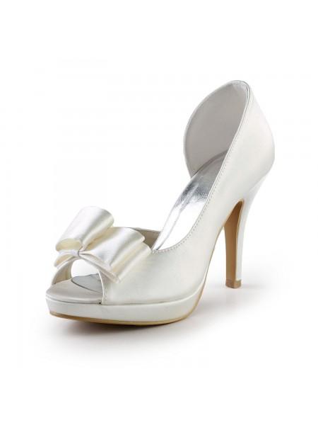 Donna Elegante Handmade Sweet Pelle Butterfly Ivory Wedding High Heel Shoes