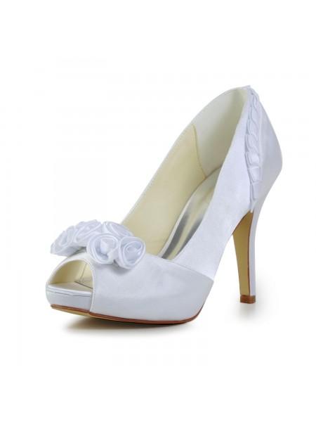 Donna Fabulous Raso tacco a spillo Pumps Con Flower bianca Scarpe da sposa