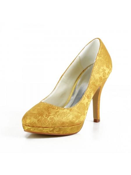 Donna Moda Raso tacco a spillo punta chiusa Piattaforme Gold Scarpe da sposa