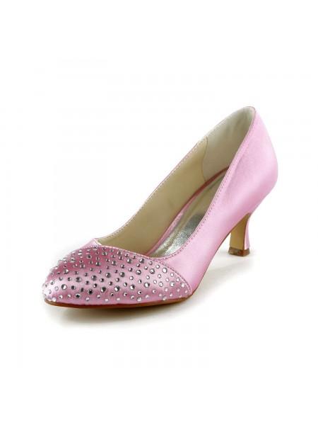 Donna Moda Raso tacco a spillo punta chiusa Con Strass Pink Scarpe da sposa