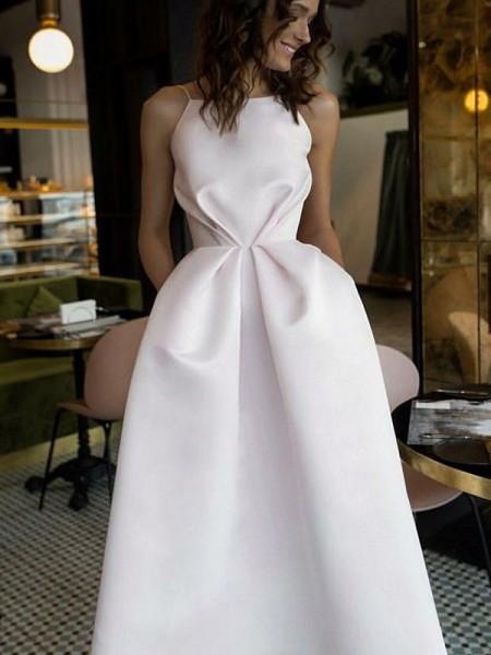 A-Line/Principessa Senza maniche A bikini Lunghezza tè Increspature Raso Abiti da Cerimonia