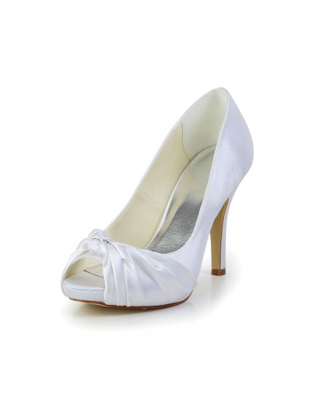 Donna Bellissima Raso tacco a spillo Peep Toe bianca Scarpe da sposa