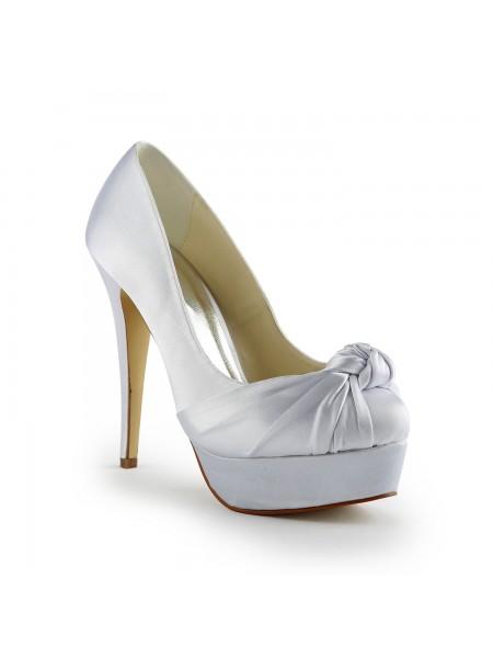 Donna Bellissima Raso tacco a spillo Pumps Con Increspato White Scarpe da sposa