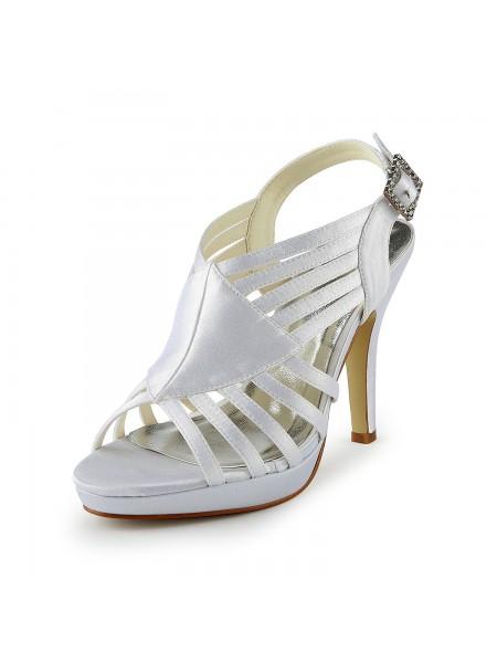 Donna Bellissima Raso tacco a spillo Sandals Con Buckle White Scarpe da sposa