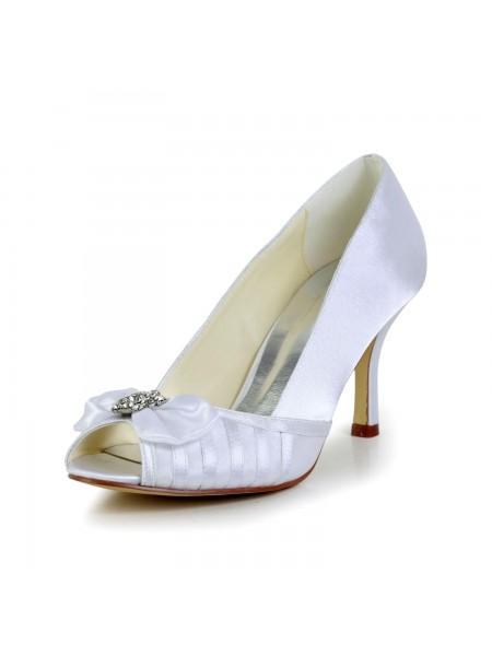 Donna Graceful Fiocco tacco a spillo Raso bianca Scarpe da sposa