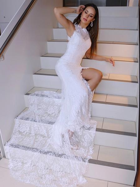 Trumpet/Mermaid Lace Sleeveless Halter Sweep/Brush Train Wedding Dresses