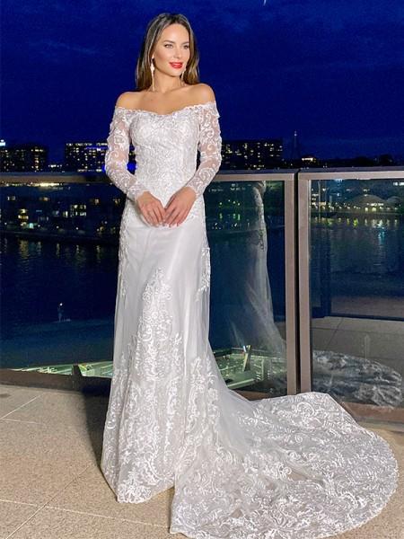 Sheath/Column Lace Off-the-Shoulder Long Sleeves Court Train Wedding Dresses