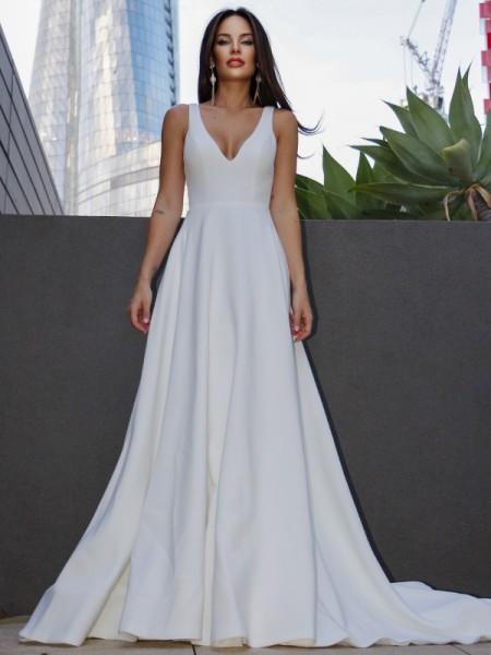 A-Line/Princess Satin Ruffles V-neck Sleeveless Sweep/Brush Train Wedding Dresses