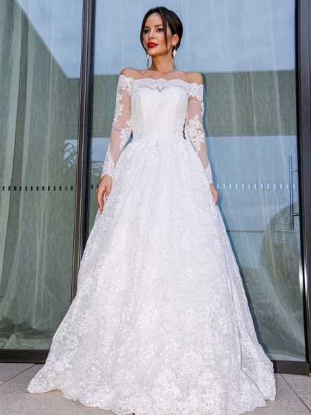 Ball Gown Tulle Bateau Long Sleeves Lace Floor-Length Wedding Dresses