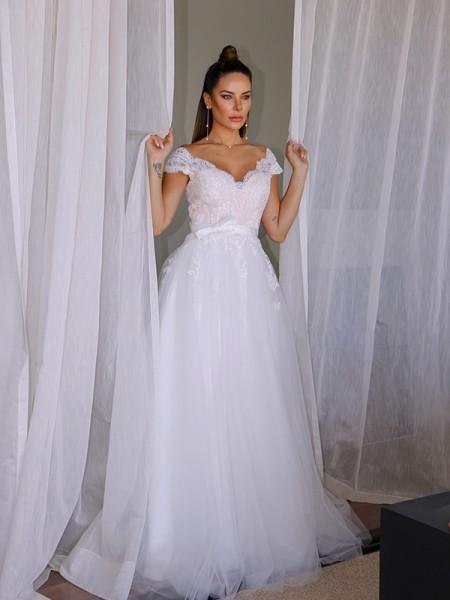 A-Line/Principessa Tyll Scollatura a V Senza maniche Pizzo A terra Abiti da sposa