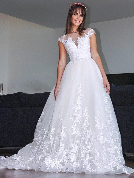 A-Line/Principessa Tyll Applique Scollatura a V Senza maniche Coda a strascico corto Abiti da sposa