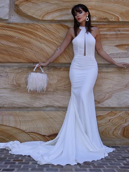 A sirena/Stile sirena A bikini Senza maniche Stretch Crepe Increspature Coda a strascico corto Abiti da sposa
