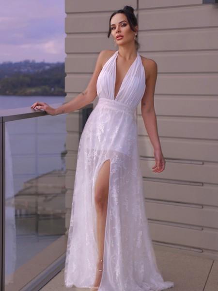 A-Line/Principessa Pizzo Increspato A bikini Senza maniche A terra Abiti da Sposa