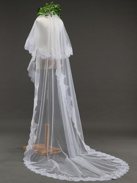 Grazioso 2 Layer Tyll With Pizzo Lungo Wedding Veils