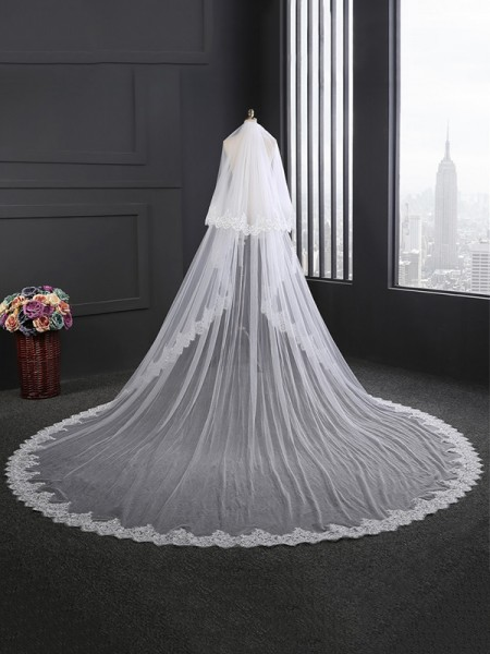 Fashion 2 Layer Tyll With Pizzo Lungo Wedding Veils