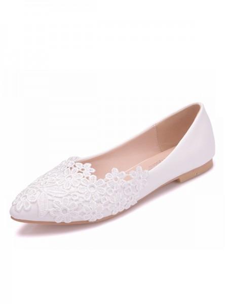 Da donna PU Punta Chiusa With Flower Heel piatto Flat Scarpe