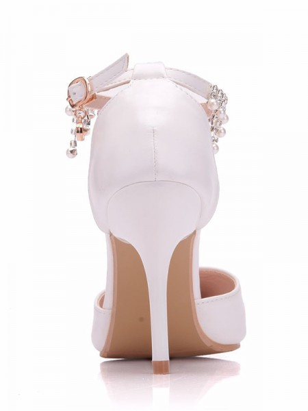 Da donna PU Punta Chiusa Tacco a Spillo With Perline High Heels