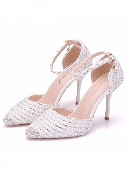 Da donna PU Closed Toe Con Perla Stiletto Molto sandali