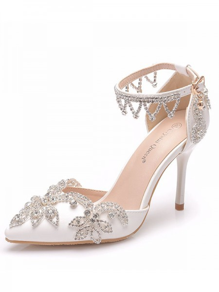 Da donna PU Punta Chiusa With Flower Tacco a Spillo High Heels