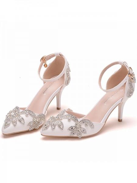 Da donna PU Closed Toe Con Fiore Stiletto Molto sandali