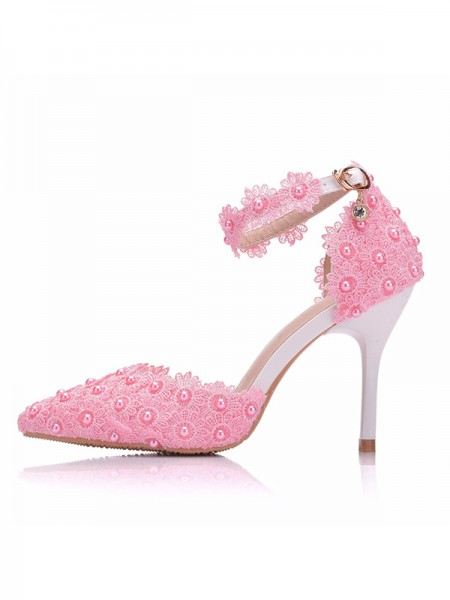 Da donna PU With Flower Punta Chiusa Tacco a Spillo High Heels
