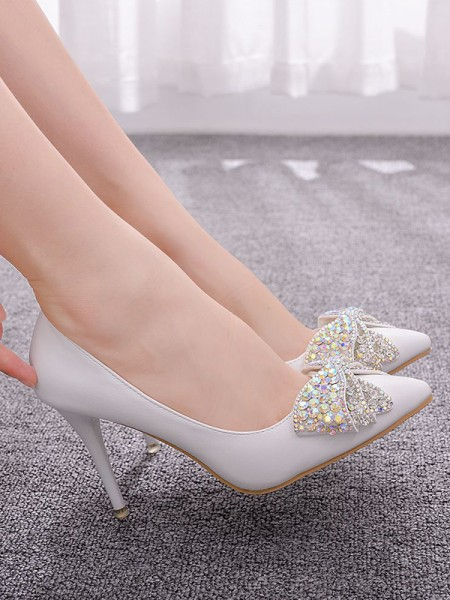 Da donna PU Punta Chiusa With Strass Tacco a Spillo High Heels