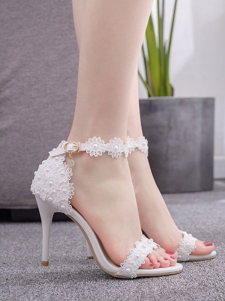 Da donna PU Scarpe Peep Toe With Flower Tacco a Spillo Sandali