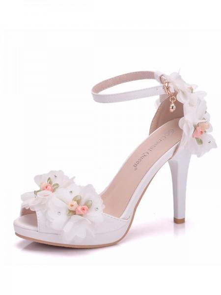 Da donna PU Scarpe Peep Toe With Flower Cone Heel Sandali