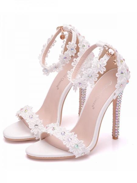 Da donna PU Peep Toe Con Fiore Stiletto Molto sandali