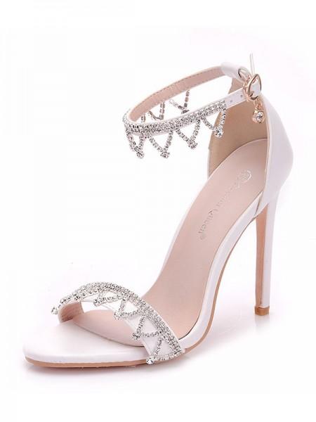Da donna PU Peep Toe Con Strass Stiletto Molto sandali