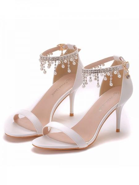 Da donna PU Peep Toe Con Perla Stiletto Molto sandali