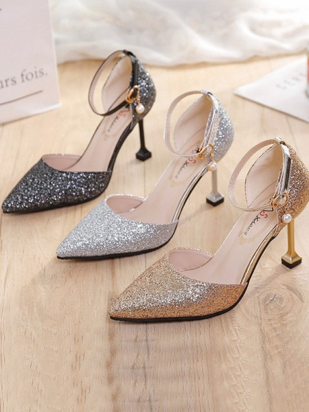 Women's Stiletto Heel Closed Toe Sparkling Glitter Tacchi alti
