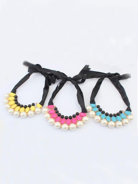 Occidente tutto-fiammifero Celebrity Elegante Perle Ribbons vendita calda Collana