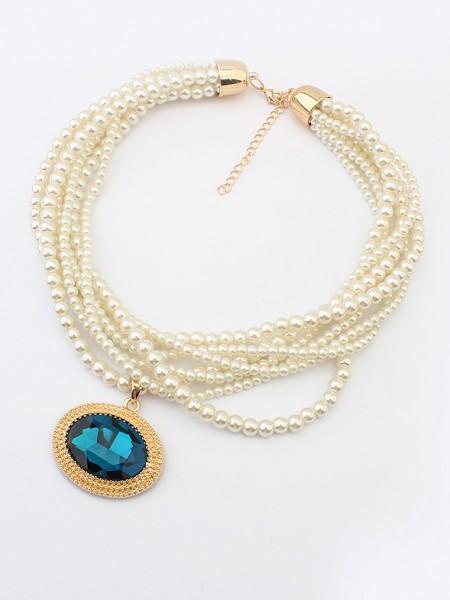 Occidente PaPizzo Retro Big Pietra preziosa Perle vendita calda Collana