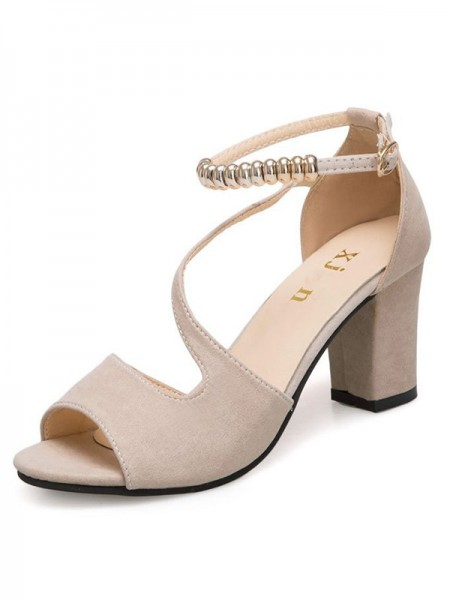 Women's Suede Chunky Heel Peep Toe sandali