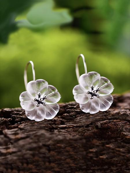 Pretty S925 Silver With Flowers Orecchini For Women