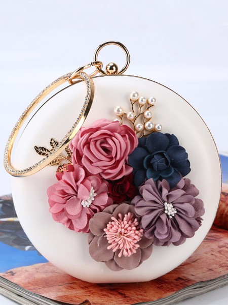 Round PU Evening/Party Borse With Flowers