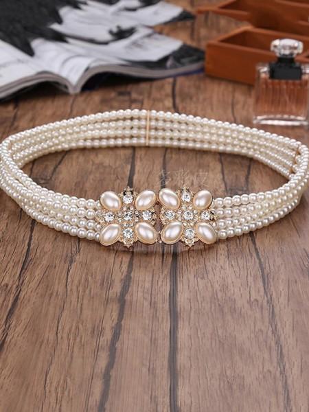 Elegante Elastic Imitation Perle Ante With Strasss