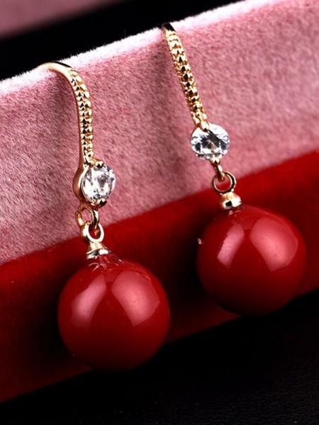 Fashionable Copper With Zircon Earrings For Women