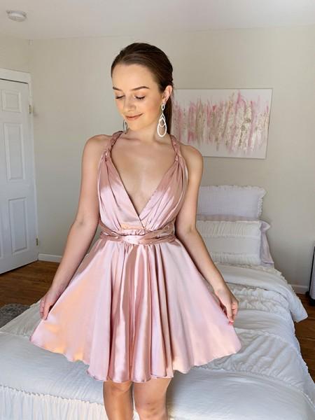 A-Line/Princess Silk like Satin Sleeveless V-neck Ruffles Short/Mini Homecoming Dresses