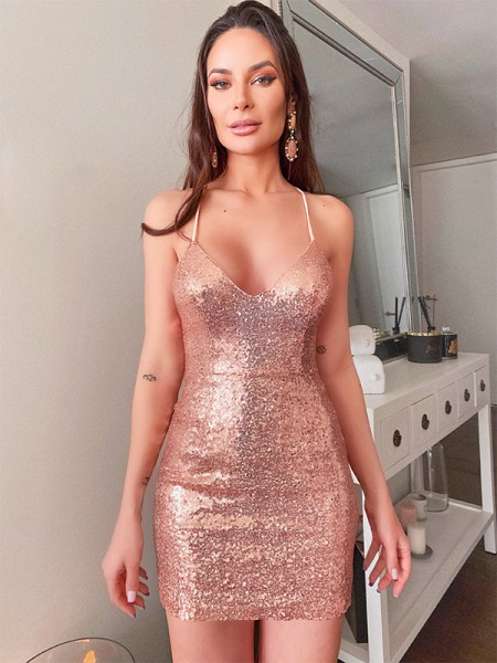 Sheath/Column Spaghetti Straps Sleeveless Sequins Short/Mini Homecoming Dresses